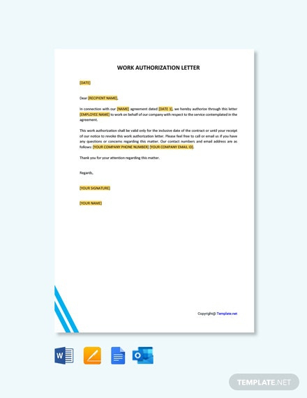 Free Authorization Letter To Perform Work Template