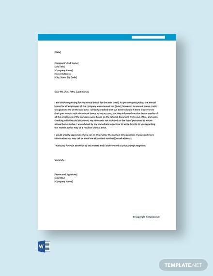 Free Bonus Letter Templates