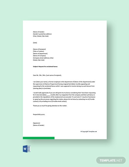 Free Bonus Request Letter Template