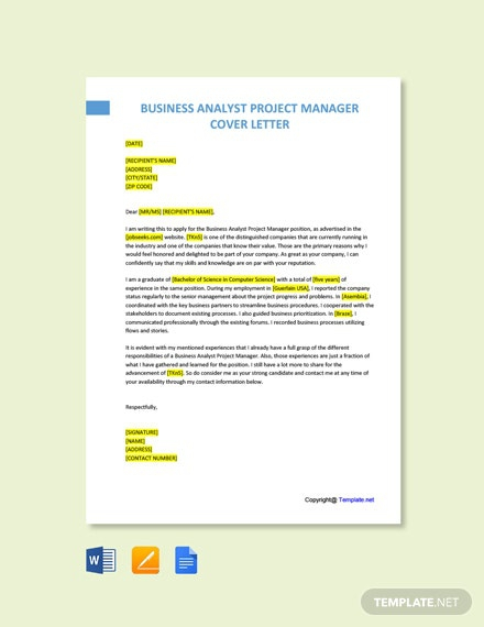 Free Business Analyst Project Manager Cover Letter Template