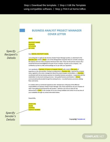 Free Business Analyst Project Manager Cover Letter Template In