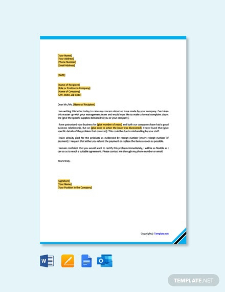 Free Business Complaint Letter To Supplier Template