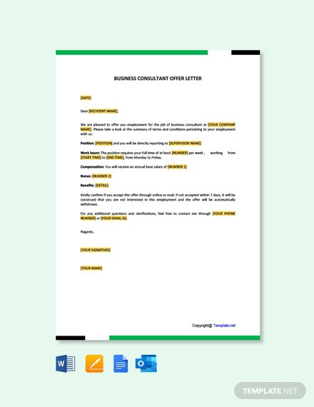 Free Business Consultant Offer Letter Template