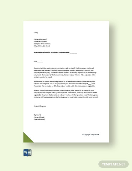 Free Business Termination Acceptance Letter Template