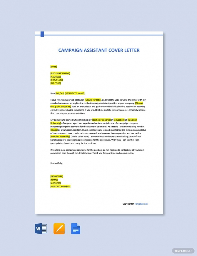 Free Campaign Assistant Cover Letter Template In
