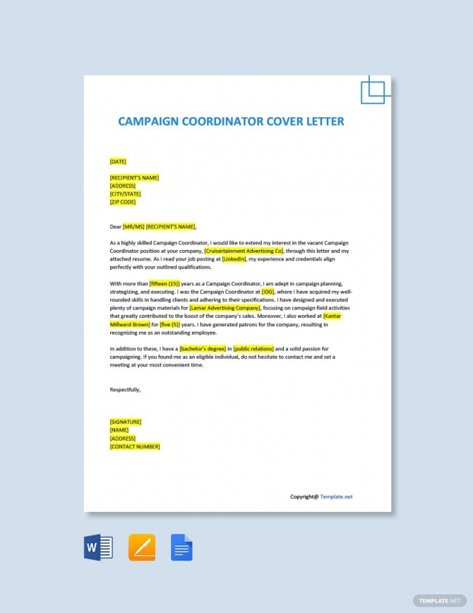 Free Campaign Coordinator Cover Letter Template