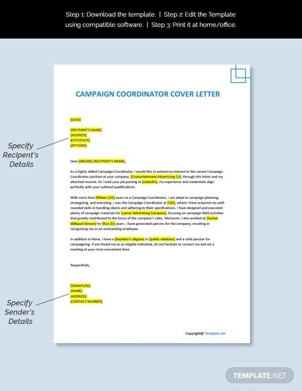 Free Campaign Coordinator Cover Letter Template In