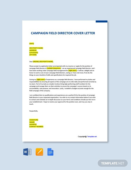 Free Campaign Field Director Cover Letter