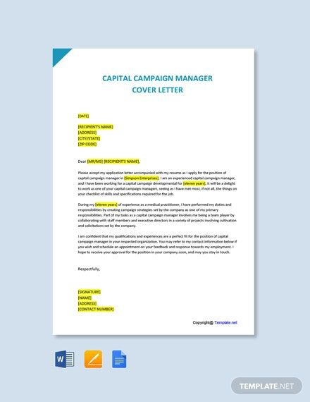 Free Capital Campaign Manager Cover Letter Template In