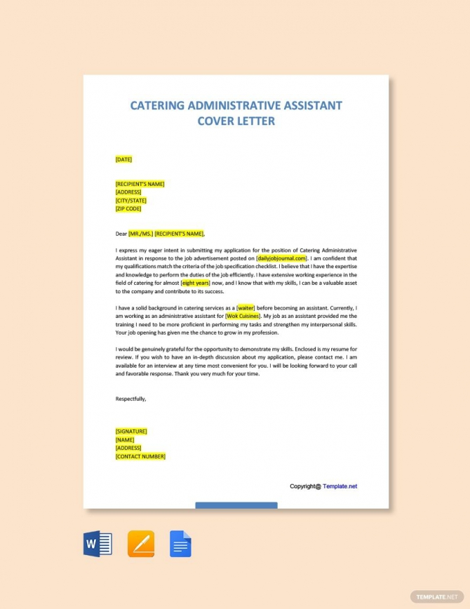 Free Catering Administrative Assistant Cover Letter Template In