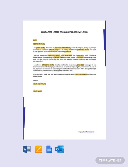 Free Character Reference Letters For Court Example Template