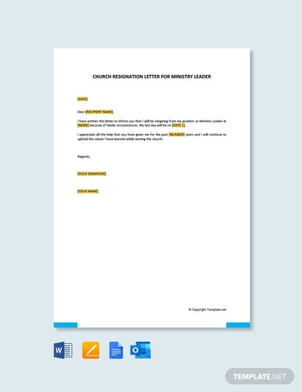 Free Church Resignation Letter For Ministry Leader Template