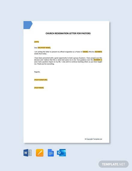 Free Church Resignation Letter Templates