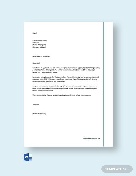 Free Civil Engineering Cover Letter Template