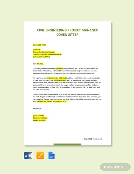 Free Civil Engineering Project Manager Cover Letter