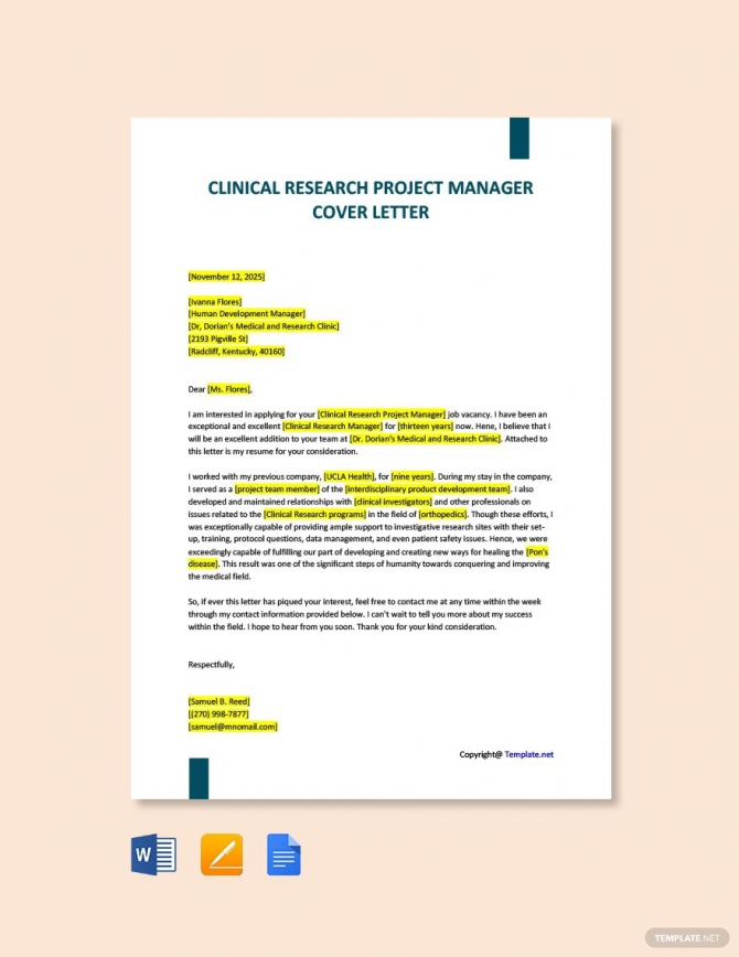 Free Clinical Research Project Manager Cover Letter Template In