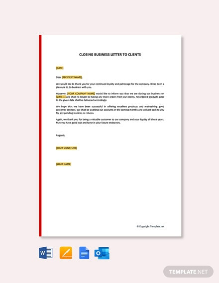 Free Closing Business Letter To Clients Template