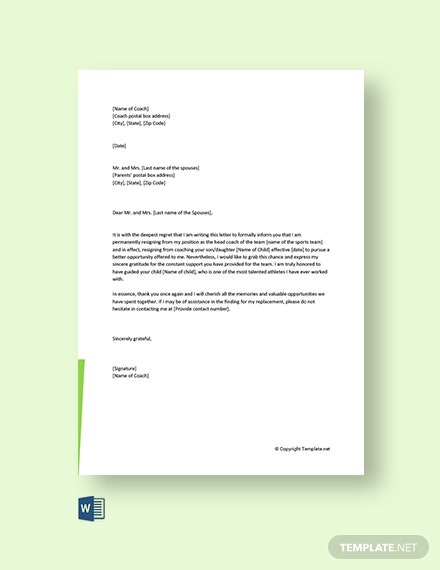 Free Coach Resignation Letter To Parents Template