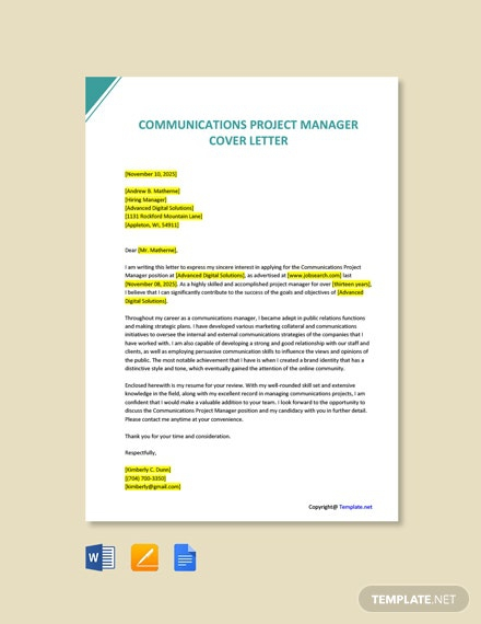 Free Communications Project Manager Cover Letter
