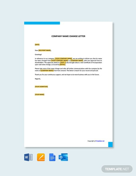 Free Company Name Change Letter Template