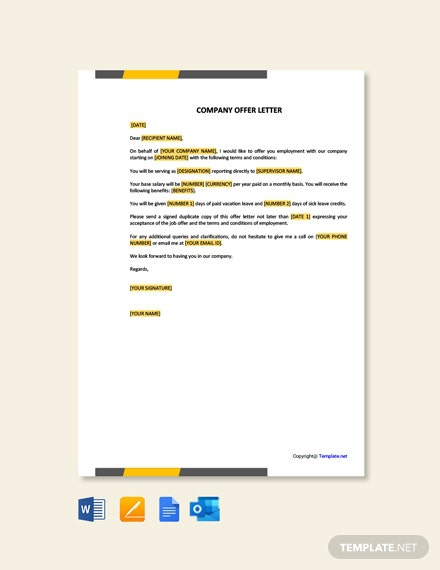 Free Company Offer Letter Template