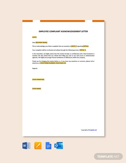 Free Complaint Letter Against Employee Template