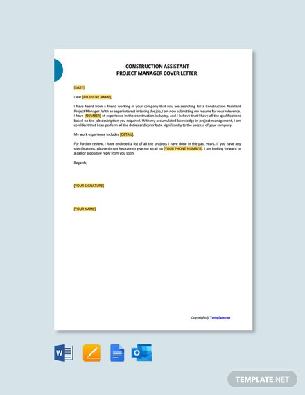 Free Construction Assistant Project Manager Cover Letter