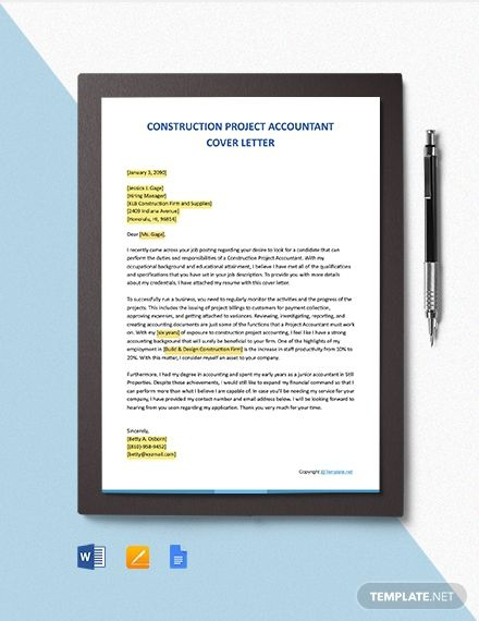 Free Construction Project Accountant Cover Letter