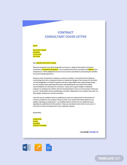 Free Contract Consultant Cover Letter