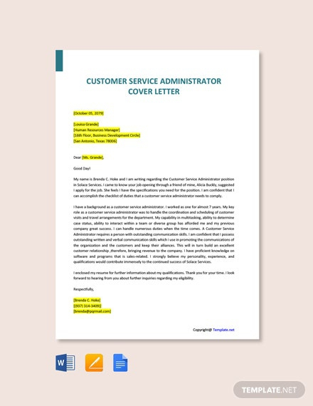 Free Customer Service Administrator Cover Letter