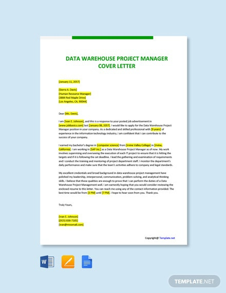 Free Data Warehouse Project Manager Cover Letter