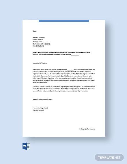 Free Delegation Letter For Bank Template