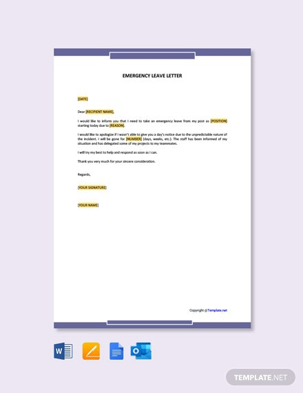 Free Emergency Leave Letter Template