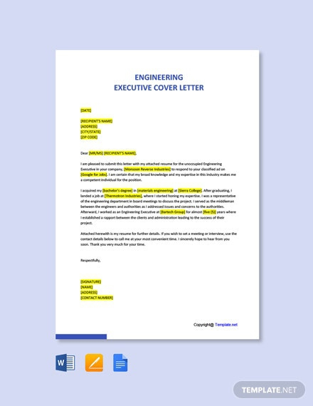 Free Engineering Executive Cover Letter Template