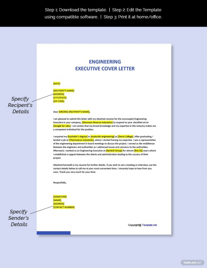 Free Engineering Executive Cover Letter Template In