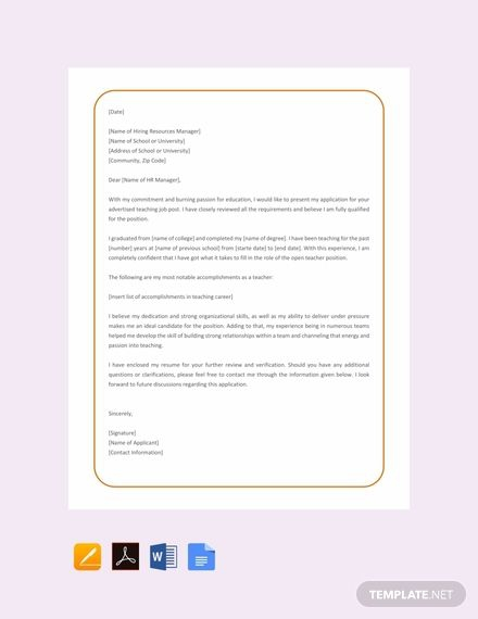 Free English Teacher Job Application Letter Template