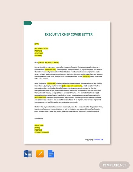 Free Executive Chef Cover Letter