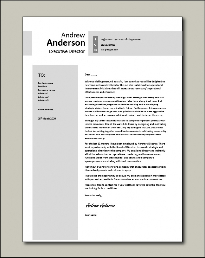Free Executive Director Cover Letter Example