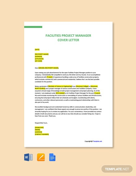 Free Facilities Project Manager Cover Letter
