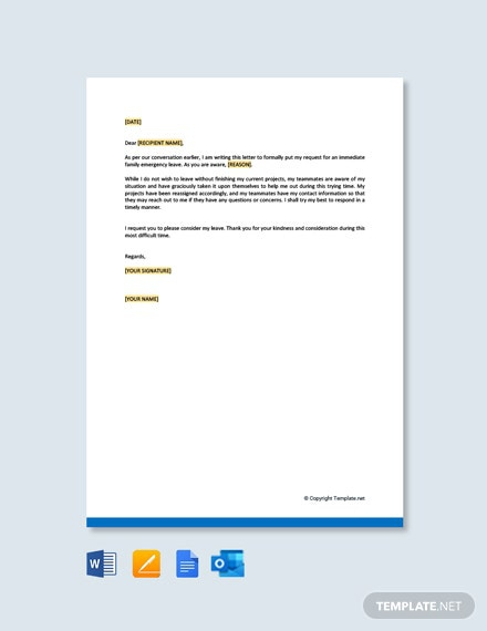 Free Family Emergency Leave Letter Template