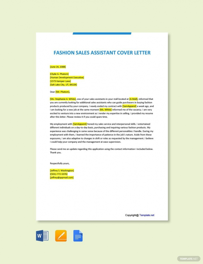 Free Fashion Sales Assistant Cover Letter Template In