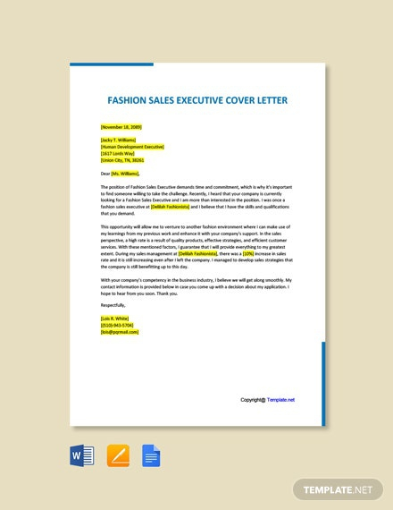 Free Fashion Sales Executive Cover Letter
