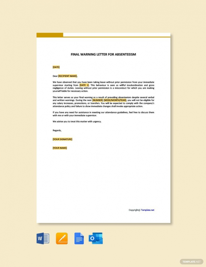 Free Final Warning Letter For Absenteeism Ad    Ad  Final