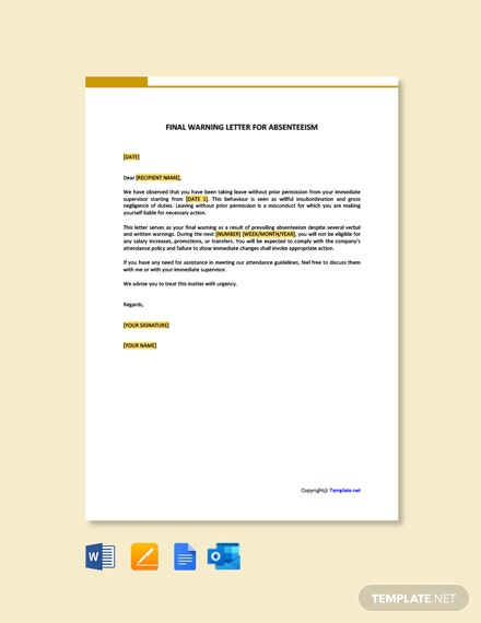 Free Final Warning Letter For Absenteeism Template