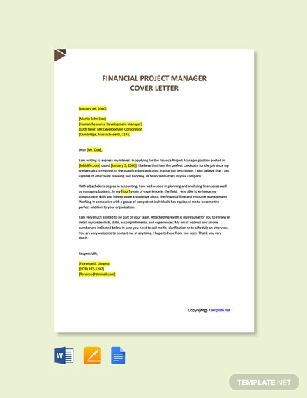 Free Financial Project Manager Cover Letter