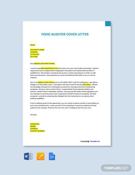 Free Food Auditor Cover Letter