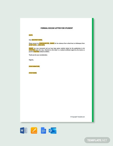 Free Formal Excuse Letter For Student Template
