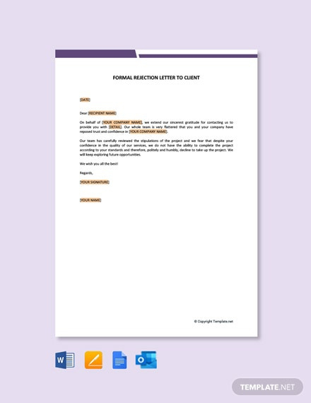 Free Formal Rejection Letter To Client Template
