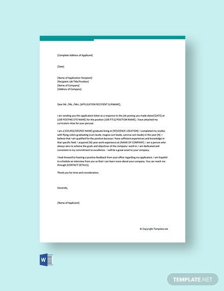 Free General Application Letter For Any Position Template