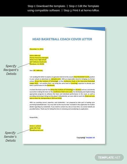 Free Head Basketball Coach Cover Letter Template